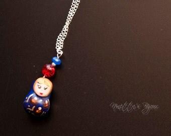A handmade fimo matrioska charm necklace