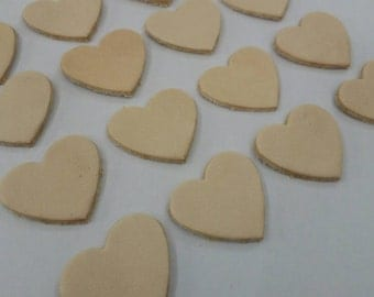 Leather Hearts, 50 Pcs., 4 Sizes 15 mm. 20 mm. 25 mm. 30 mm. wide, Natural, Leather Hearts Die Cut, Vegetable Tanned Leather, DIY Projects.