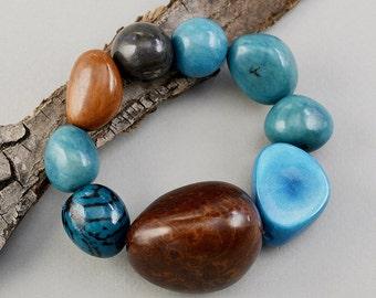 Tagua nut bracelet, turquoise bangle, big beads bracelet, large sphere cuff, elastic chunky bracelet, vegetable ivory, colorful big bangle.