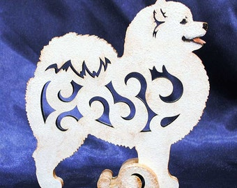 Statue Samoyed, figurine made of wood, hand-painted with acrylic and metallic paint