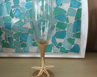 Champagne Flutes cobalt blue with sand stem and base with either seaglass or starfish