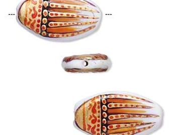 Tribal Bead, Lampworked Glass Bead, Orange and Gold Design, Flat Oval, 29x16mm, 2 each, D790