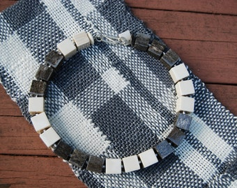 Grey & White Intricate Plaid Statement Mobius (Infinity) Handwoven Scarf