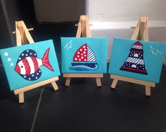 Set of 3 nautical mini canvases