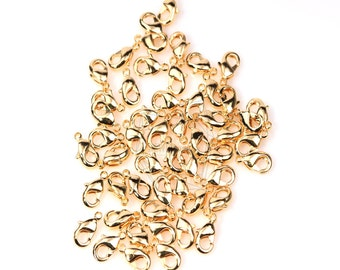 BSC-002-G/50 pcs, 9mmx5mm, Small lobster clasp/Gold Plated over brass