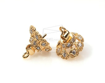 PDT-322-G/2pcs-CZ beads cap Dangle with peg/12mm x 12mm  / Gold Plated over brass