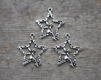 15pcs--Fairy Charms Antique Silver Intricate and Dainty Sitting in Star, Lovely Angel On the Star Charm Pendant 30x24mm D0536
