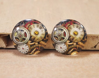4PCS 30mm Handmade Round Photo glass Cabochons,Clock Mechanical Gear glass bead pendant.