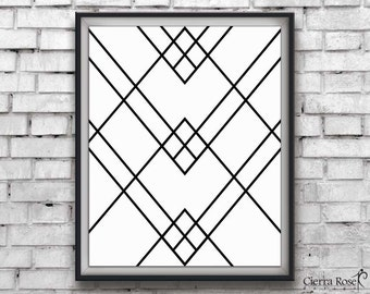Geometric Print, Art Deco Abstract Art, Line Art, Geometric Art, Diamond Print, Wall decor, black and white, Minimalist Art, Modern Print