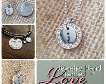 Projectsemicolon- Semicolon hand stamped necklace (with Swarovski crystal ring)