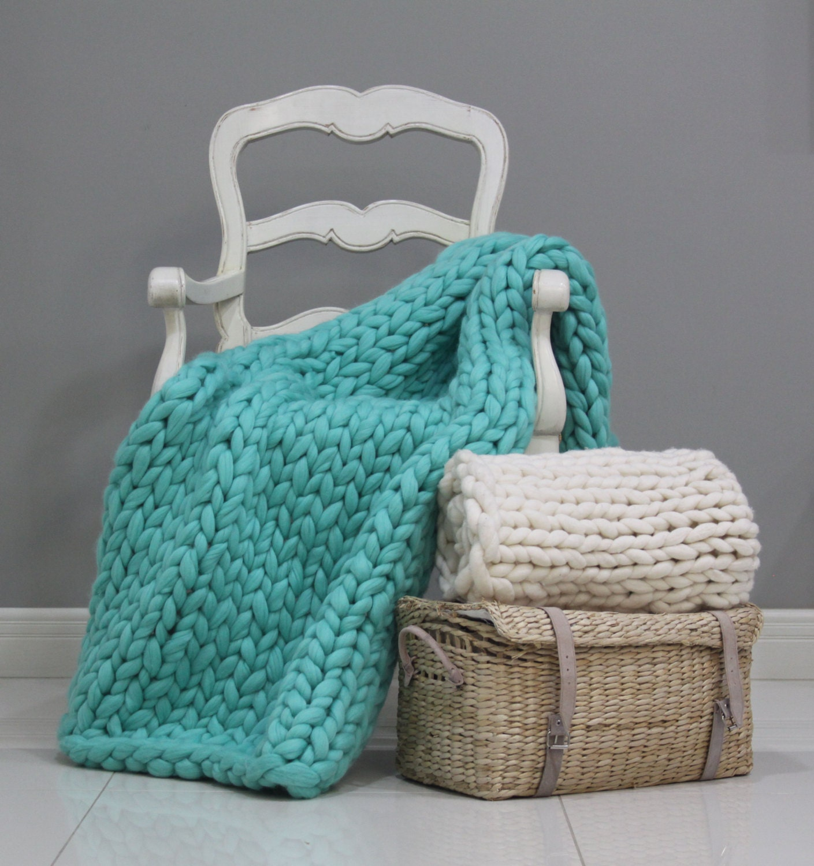 Knitting A Throw Blanket: Chunky Knit Throw Wool Knit Blanket Knitted Blanket Chunky