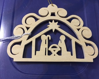 Handmade  wood Scrollsawn Christmas Nativity / Manger scene scroll saw Christmas tree ornament