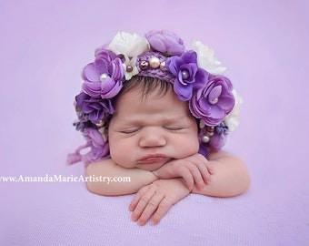 Flowers Baby bonnet --Baby Bonnet in Lavender , Infant  bonnet--Spring Photo Prop ,Crochet  Baby Girl , baby shower gift ,Clothing