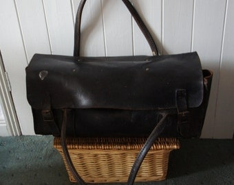 Large Vintage 1940s W.M.Gas Dark Brown Leather Bag Tool Bag