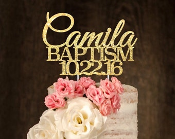 Baptism Cake Topper, Personalized. Christening, cake topper