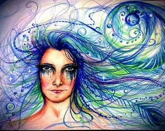 Mystical woman drawing