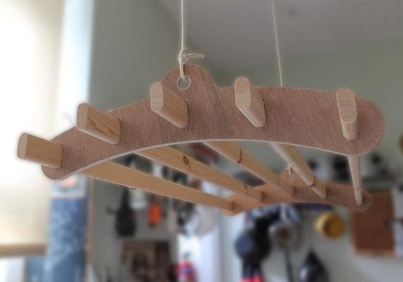 5 lath wooden hanging clothes drying rack or pot rack. Black Bedroom Furniture Sets. Home Design Ideas