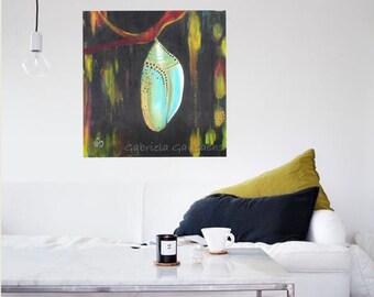 "Cocoon, original acrylic painting 36""X36""X1.5""app"
