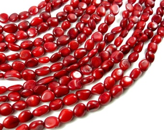Red Bamboo Coral Beads, Irregular Oval Beads, Approx 6x7mm, 16 Inch, Full strand, Approx 55-60 beads, Hole 0.6 mm (368077005)