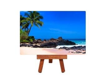 metal print, beach photography, miniature, home decor, table top art, tropical, beach picture, seascape, blue sky, palm tree, sandy beach