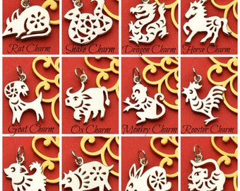 Sterling Silver, Chinese Zodiac, Zodiac Charm, Chinese Pig, Chinese Ox, Chinese Tiger, Chinese Rat, Chinese Goat, Chinese Rooster