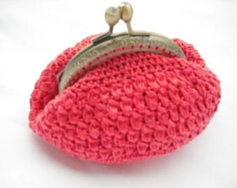 coin purse crochet coral color