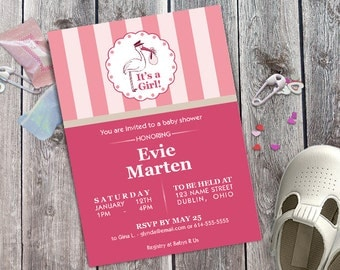 Baby Shower Invitation, Stork Carrying Baby with Stripe Pattern, Customizable, DIY Printable Invitation