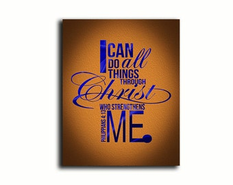 I can do all things through Christ religious spiritual typography