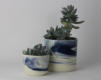 PLANTER SET Small and Medium. Indigo Marbled Ceramic/Pottery Bowl/Planter