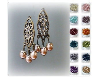Earrings, Vintage style bronze lace chandelier and pearl, choose your colour, clip on or pierced
