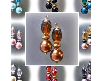 Earrings petite drop pearl and crystal, choose color, findings and clip on or pierced fittings