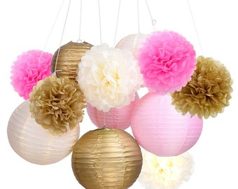 Set of 12 Mixed Gold Pink Ivory Tissue Paper  Pom Poms Flower Paper Lanterns Wedding Birthday Girl Baby Shower Party Decoration