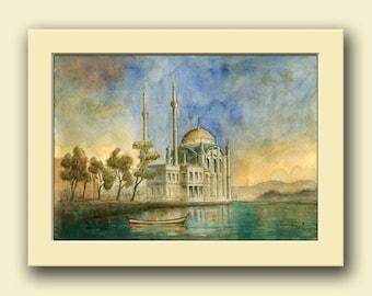Istanbul - Ortaköy Mosque - Bosporus river - Sail boat landscape-  decor-  original art wall  - Original watercolor painting- Juan Bosco