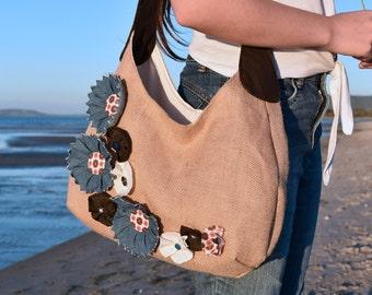 Large Hessian Swing Bag with Handmade Denim Flowers