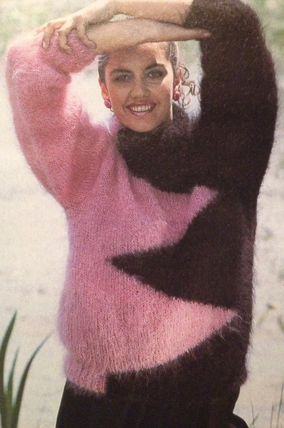 Ladies Zig Zag Cosy Mohair Jumper size 10 18 Knitting