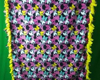 Minnie Mouse No Sew Fleece Blanket - Fleece Minnie Mouse Throw ~ Ready to Ship