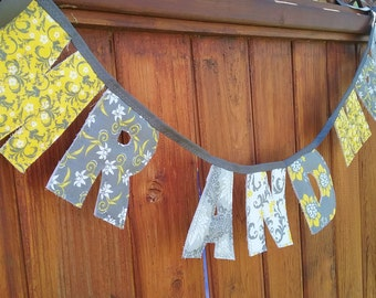 Mr And Mrs Fabric Banner in Grey and Yellow Floral Pattern