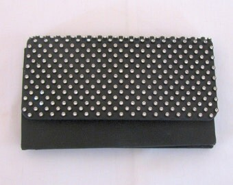 Vintage 1950s Austrian Rhinestone Black Satin Envelope Clutch / Evening Purse - Very Elegant in Mint Unused Condition