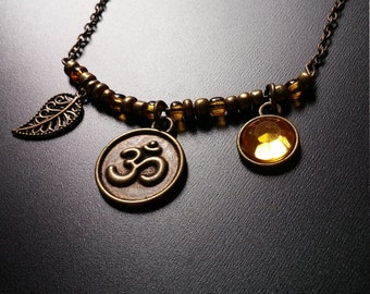 Om, leaf & jewel charms