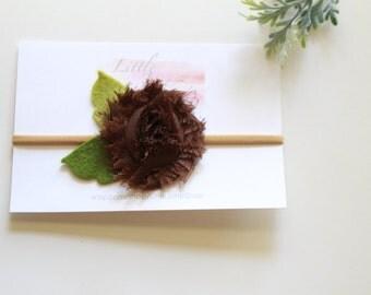 Brown Shabby Rose Headband Hairlip