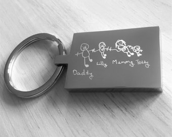 Your Childs Artwork Drawing Engraved onto a Keyring, Lovely keepsake gift