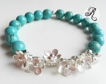 romantic bracelet with bright turquoise beads and silver plated delicate flowers - Springtime!