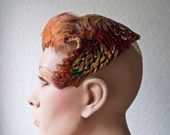 Mid Century Pheasant Feather Hat