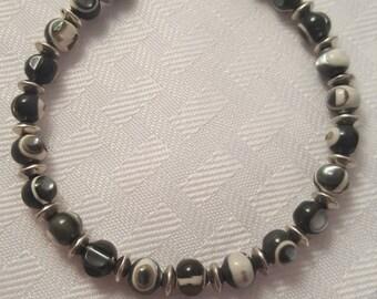 Black & White Bracelet - Black Stone Bracelet - White Stone Bracelet - Stone Bracelet - Spotted Bracelet - Speckled Bracelet-Silver Bracelet