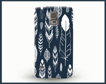 Feathers Galaxy S6 case, Dark blue Galaxy S4 case, Galaxy S5 case, Bohemian phone case, Tribal phone case, Wild phone cover, Hand drawn case