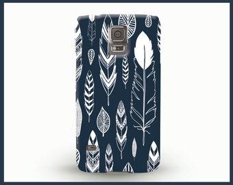 Samsung Galaxy 6 case with feathers, Dark blue Samsung Galaxy 4 case, Samsung Galaxy5 case, phone case with feathers, bohemian phone case