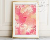 Abstract painting, PRINTABLE art, Brushstroke art, Modern art, Contemporary art, Pastel wall art, Coral print, Coral wall decor, Digital art