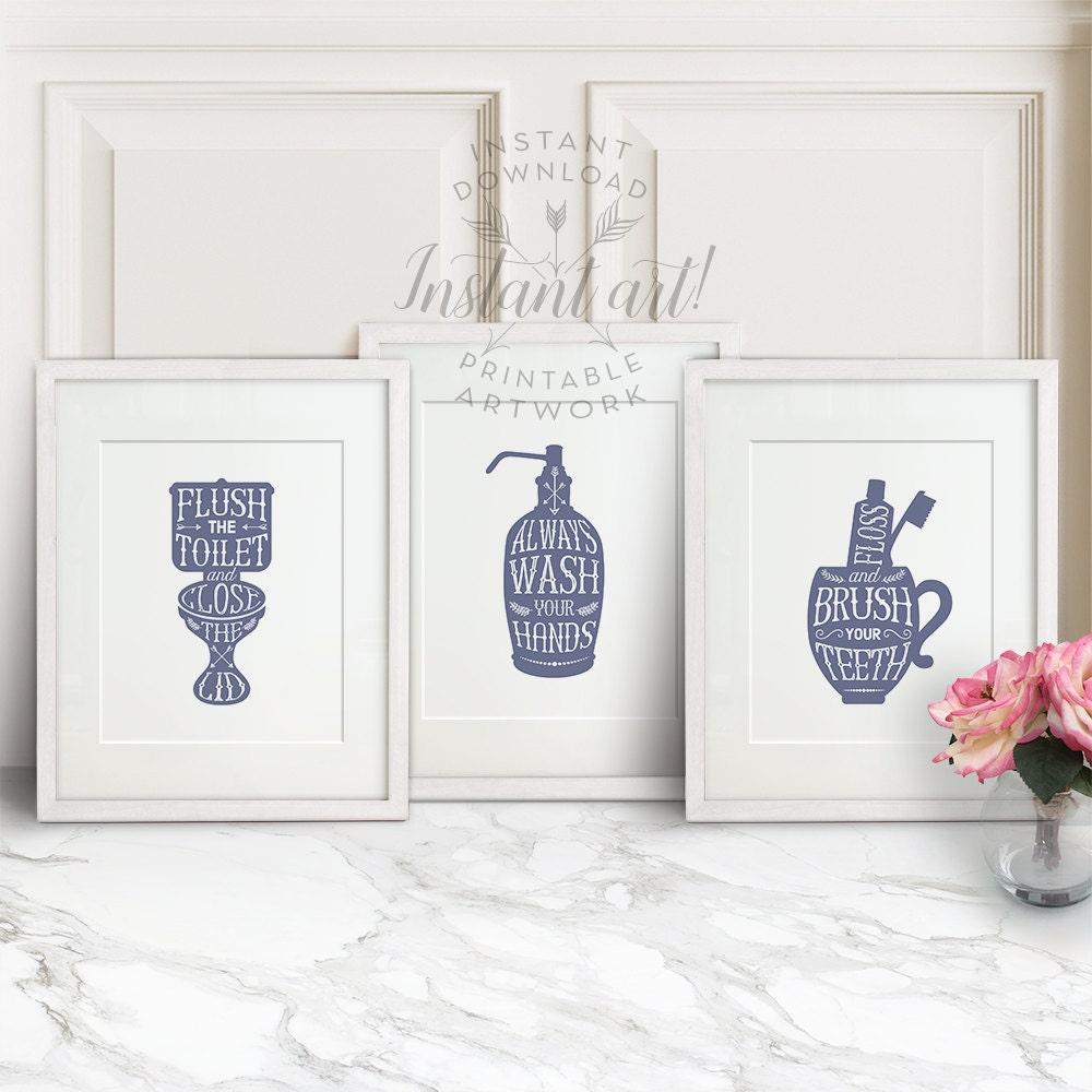 Bathroom wall decor printable set lavender flush the for Bathroom decor printables