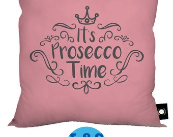 """Pink It's Prosecco Time Design 18"""" x 18"""" Cushion Cotton Feel Great Gift"""
