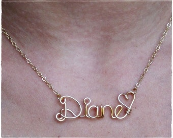 Diane Wire Name Pendant Necklace